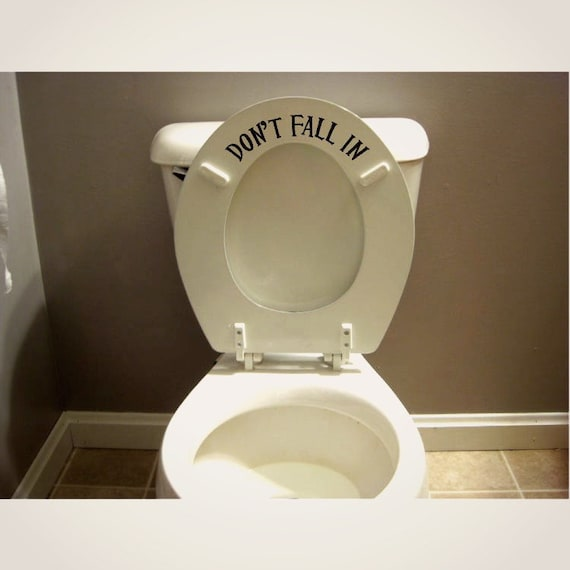 Funny Toilet Peek Sign Sticker: Funny Toilet Seat Decal Sticker Don't Fall In