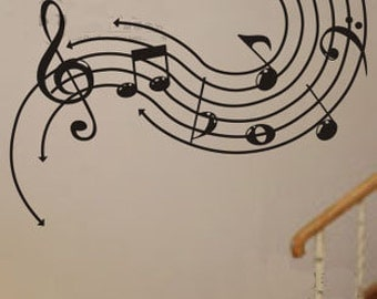 110x75cm Removable Music Note  Nature Vinyl Wall Paper Decal Art Sticker Q855