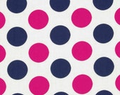 "1/2 YARD - Navy / Pink Jumbo Dots from ""In the Navy"" Collection- by Jacqueline Savage / Camelot Fabrics -  LAST 1/2 YARD"