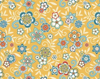 LAST 1/2 yard - Serenata Floral  Yellow by Samantha Walker for Riley Blake Designs - Blue red yellow