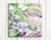 Purple and green flowers - Canvas art print - floral art