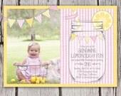 Lemonade Birthday Invitation - Girls First Birthday Lemonade Invite - Seersucker Stripes Mason Jar Bunting - Lemonade Stand - Lemonade Party