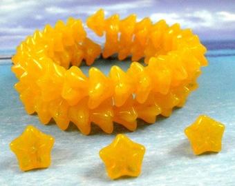 Coupon Sale..YELLOW OPALITE...Czech Bell Flower Beads, 9x6mm, 10pcs
