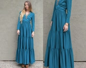 Vintage 70s Victor Costa Evening gown. Tiered maxi dress size small, extra small.
