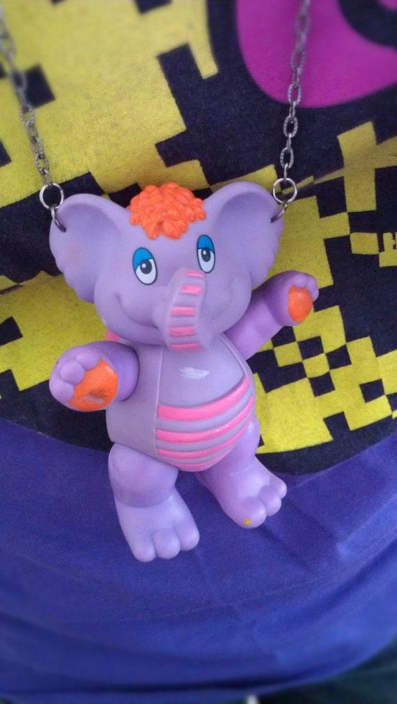 Eleroo The Wuzzles 1985 - Kawaii Necklace Purple Elephant Vintage Retro