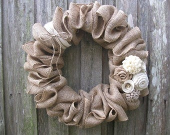 "Winter White Rosettes & Burlap Wreath, 18"" or 22"""
