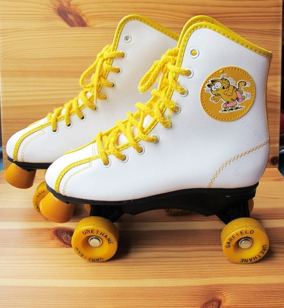 70s Garfield 1978 White And Yellow Roller Skates For Kids