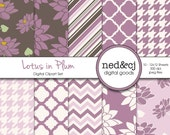 Digital Scrapbook Paper Pack - Lotus in Plum - Digital Paper - Purple Floral - Water Lily