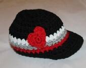 Baby Boy Valentine Hat - Crochet baby boy Valentine's Day Heart and Stripe Hat - Newborn Valentine's hat - Photography prop - Baby Valentine