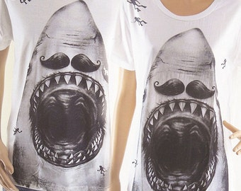 Shark Mustache (Size L) Unisex T-Shirt Men shirt women Tumblr shirt animal tshirt Shark Shirt Jaw Shirt White T-Shirt Screen Print Size L
