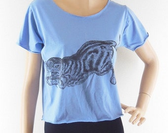Cat Shirt Cute shirt meow top kitten tee Graphic shirt funny shirt teen clothing Women Shirts Crop Top Tee Shirt  Screen Print Size M