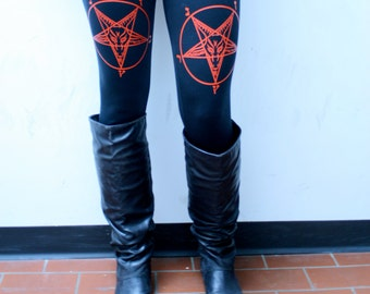 Double Pentagram Devil Punk Metal  Occult Leggings