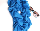 SCARF, Ruffle scarf, Lightweight Pashmina SCARF, FALL scarf smokey blue
