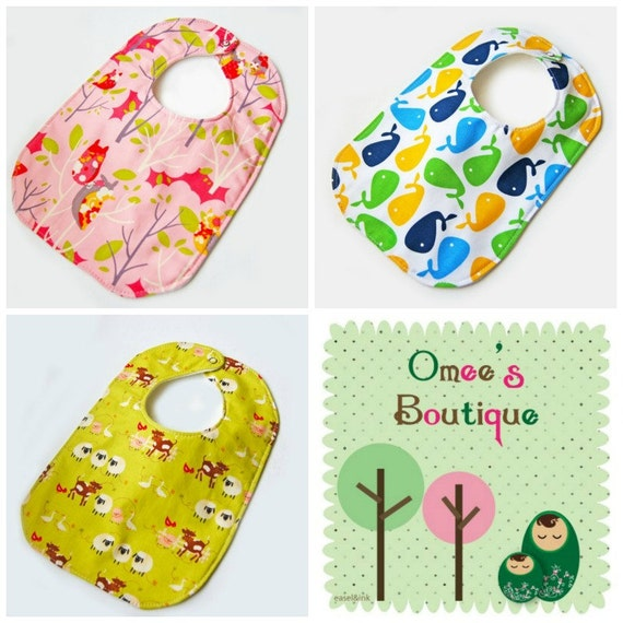 Set of 3 Baby to Toddler Designer Bibs - Super Absorbent 3 Layer - Perfect Baby Shower Gift - You Choose Flannel / Cotton / Organic Cotton