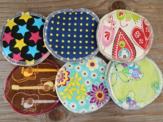 Reusable Nursing Pads set of 6 flannel cloth washable breastmilk breastfeeding bluegrass guitar star folk art upcycled repurposed solar made