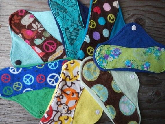 Peace Love Polka Dots Butterfly Bird cloth pads Set of 7 panty liner flannel menstrual period pad moon cycle pregnancy light days solar made