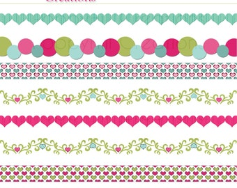 INSTANT DOWNLOAD - Printable Valentines Digital Border Pack - For Commercial or Personal Use - Digital Designs
