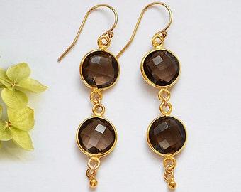 Smokey Quartz Earrings - double drop earrings, long earrings, bezel earrings, bridesmaid earrings, leverback earrings, smokey quartz jewelry
