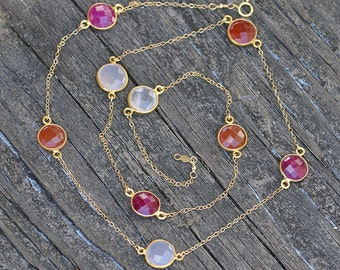 Faceted Ruby, Carnelian, Pink Quartz  Gold bezel, long gold chain station necklace, Reddish Red Orange Lollipop - July Birthstone