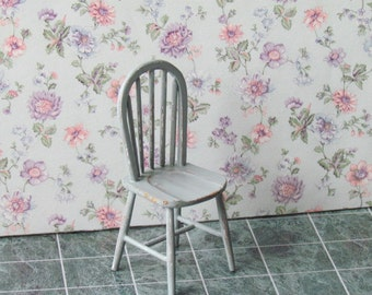 Dollhouse Chair Windsor  Chair Shabby Chic Handcrafted Painted Eggshell Color12th Scale