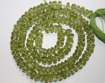 Natural AAA Quality Peridot 4 to 5mm Faceted Rondell Gemstone Beads 13 Inches FRN52