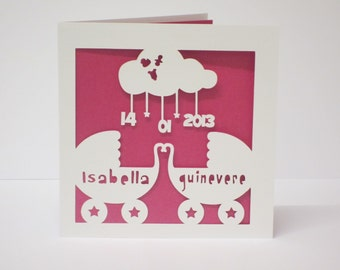 Twin baby papercut personalised card
