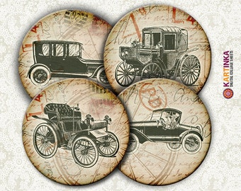 OLD CARS - 4 inch Circles Digital Collage Sheet Printable for Coasters Magnets Greeting Cards