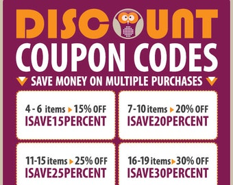 DISCOUNT COUPON CODES - Save Moneyon Multiple Purchases - How to use coupon codes - Please don't buy this listing