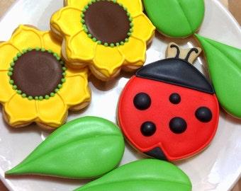 Lady bug flower and leaf cookies