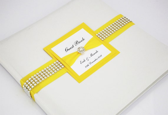 Wedding Guest Book - Personalized - Yellow