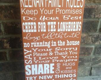 Custom Family Rules Sign