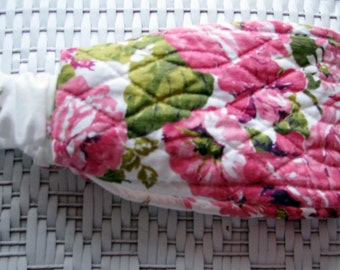 new RETRO HEADBAND young girls VINTAGE quilted pink roses shabby chic fabric cottage
