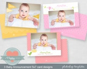Baby Announcement Templates, Sweet Baby - Photographers, 5x7 templates, WHCC, photo cards, PSD files