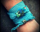 Lampwork bead wrap bracelet / adjustable necklace
