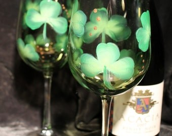 Hand Painted Irish Wine Glasses (Set of 2) - Olive tinted glass