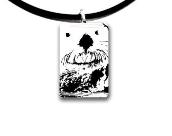 Sea Otter pendant, Monochromatic, hand painted unique artwork, Adorable Otter, Glass tile pendant, black and white