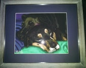 Custom pet memorial print matted, framed, with ready to hang  hand signed 1of 1 limited edition one of a kind gift