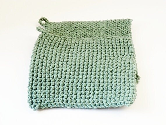Clearance SALE Crochet Pot Holders in Sage Green-Set of 2