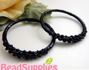 CH-ME-01657,  Nickel Free, black enameled, Bubble ring charms, 2 pcs (made in Korea)