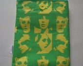 Upcycled Yellow & Green Pop Art Padded Sleeve Pouch Handmade