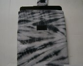 Upcycled Black & Grey Tie Dye Padded Sleeve Cover Pouch  Handmade