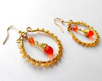 Cara: Wire Wrapped Hoops Glass Rondelle Beads Glass Teardrop Orange Boho
