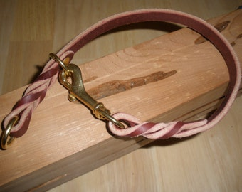 "latigo leather slip/choke collar 3/4"" X 21.25"" with sliding ring and solid brass hardware"