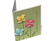 Pinwheel flowers birthday card, pastel floral card, happy birthday note card, green, flower garden birthday wishes