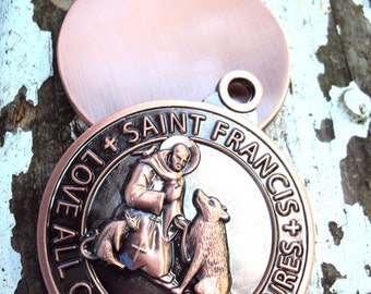 St. Francis Pet ID Tag- Metal Stamping Blank Pet Tag for LARGE Dogs- Protector of Animals Religious Pendant Dog Pet Gift Idea (F4)
