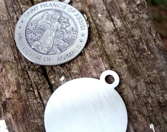 Lot of 10 Silver St. Francis Dog ID Tag- Metal Stamping Blank- Saint Francis Pet Pendant Charm 32mm