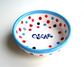 Personalized Polka Dot Blue, White and Red Ceramic Childrens Pottery / Bowl for a Boy and a Girl / Food, Dishwasher and Microwave Safe