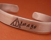 Harry Potter Inspired - Always - A Hand Stamped Aluminum Bracelet