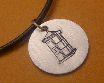 Police Box -  A Hand Stamped Aluminum Disc Necklace