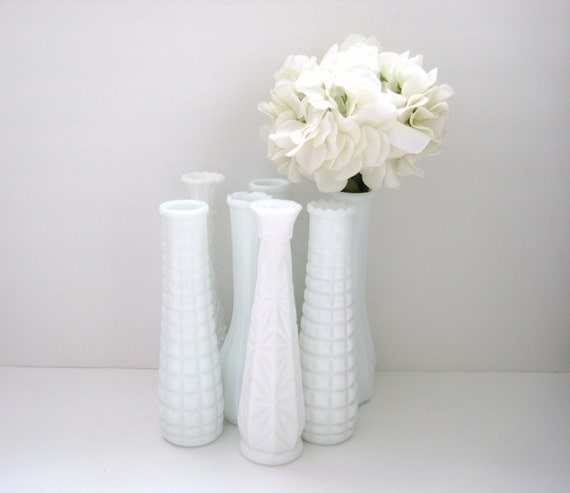 RESERVED for ALYX Tall Milk Glass Vases - Collection of 7 - Vintage - Wedding Decor